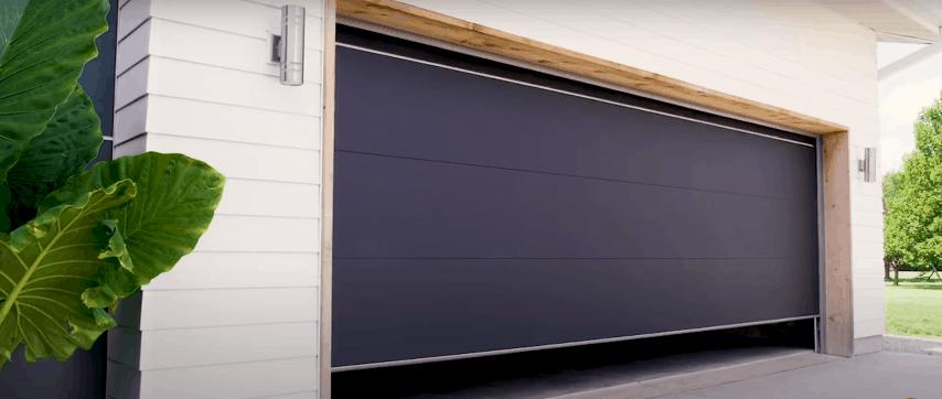 Black Electric Garage Door in a Modern Home